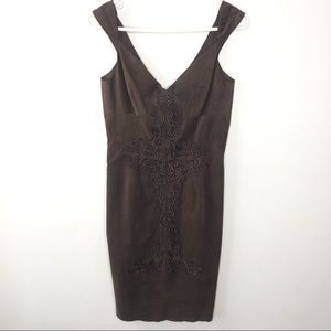 Tracy Reese Sheath Dress Size 4 Ultra Suede Brown